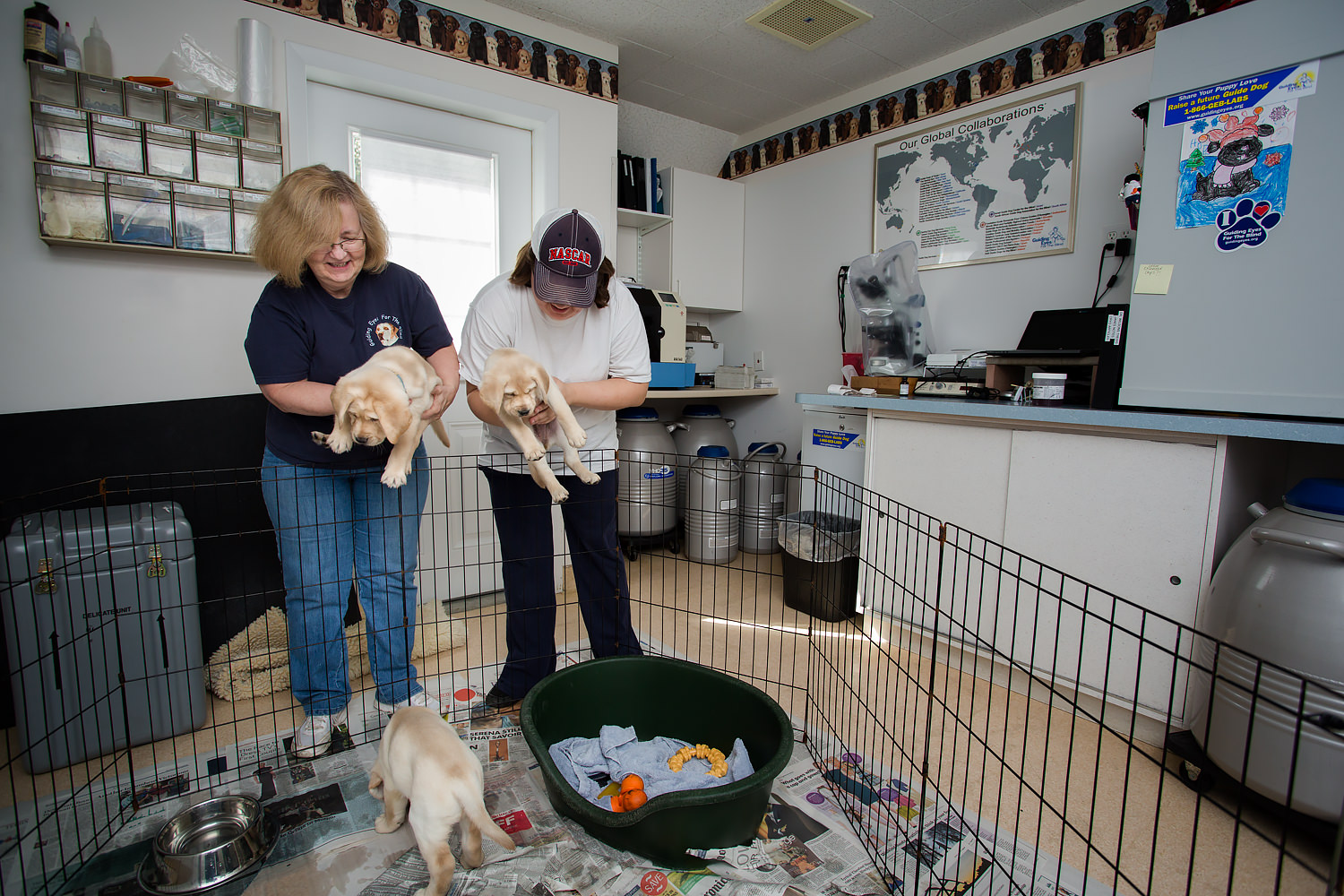 Guiding Eyes volunteers Nancy and Elizabeth return pups from a home sit.